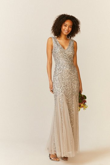 Silver Sequin Split Skirt Maxi Dress