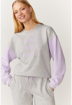 Grey marl Oui Colourblock Sweatshirt