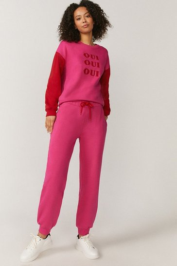 Hot pink Oui Colourblock Sweatshirt