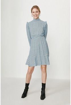 Blue High Neck Smock Dress