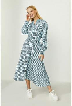 Blue Geo Print Midi Shirt Dress