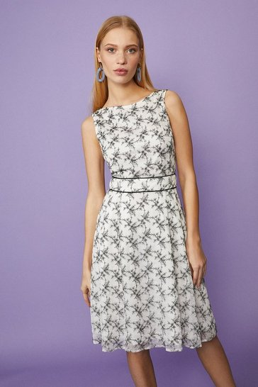 Mono Floral Lace Midi With Belt Detail