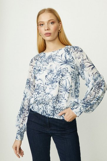 Light blue Ruched Detail Blouse