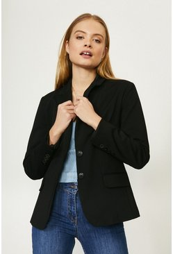 Black Cotton Sateen Blazer