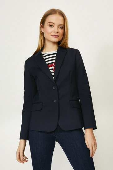 Navy Cotton Sateen Blazer