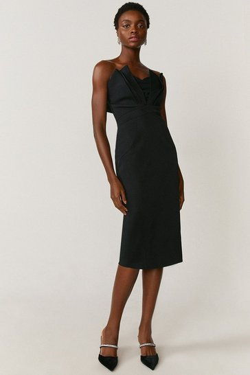 Black Seam Bandeau Dress