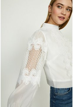 Ivory Lace Detail Long Sleeve Blouse