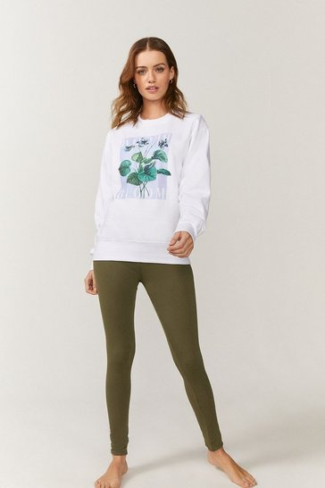 Khaki Bloom Floral Sweatshirt And Legging Set