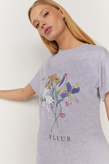 Grey marl Flower Bouquet T Shirt