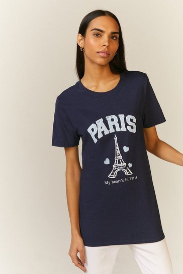 Navy Paris Distress Print T Shirt