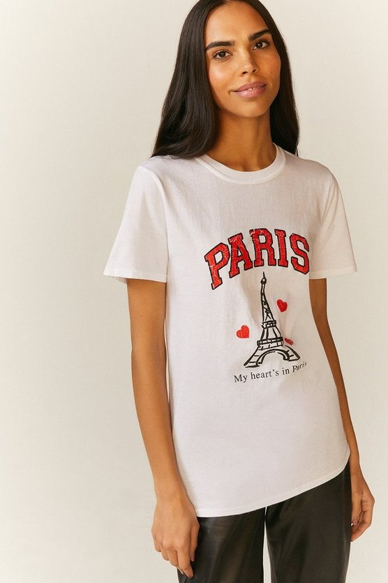 White Paris Distress Print T Shirt