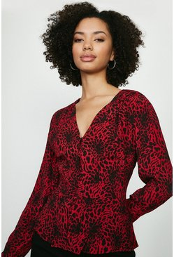 Red Long Sleeve Leopard Top