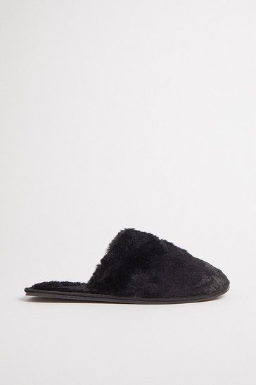 Black Fluffy Mule Slippers
