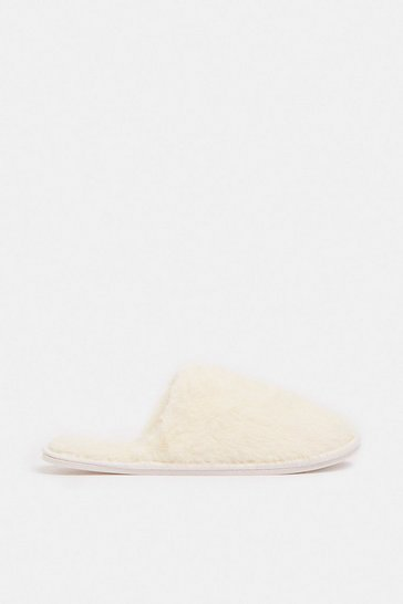 Cream Fluffy Mule Slippers