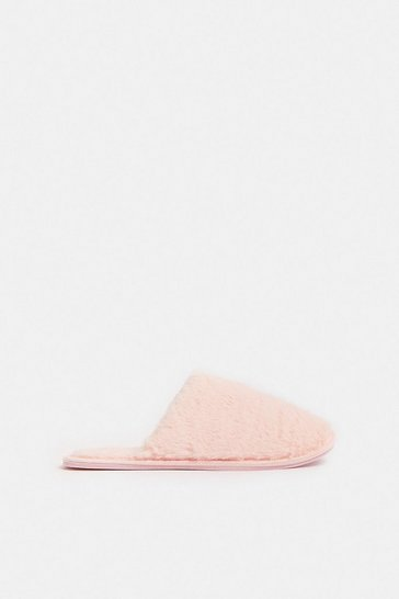 Pink Fluffy Mule Slippers