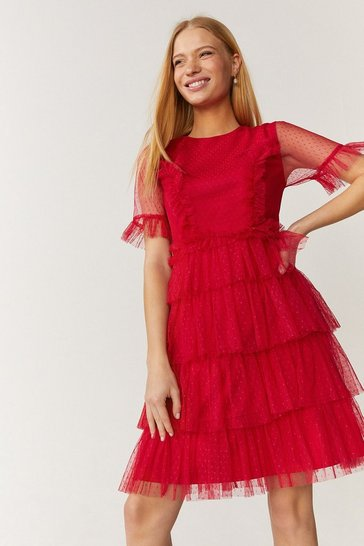 Red Ruffle Tier Skirt Short Sleeve Mini Dress
