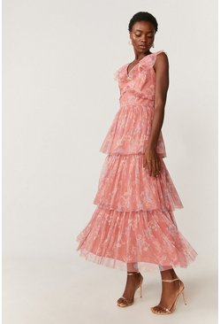 Pink Floral Ruffle Tier Maxi Dress