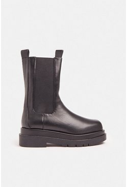 Black Chunky Sole Biker Boot
