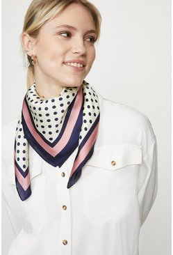 Pink Polka Dot Colour Pop Border Satin Scarf