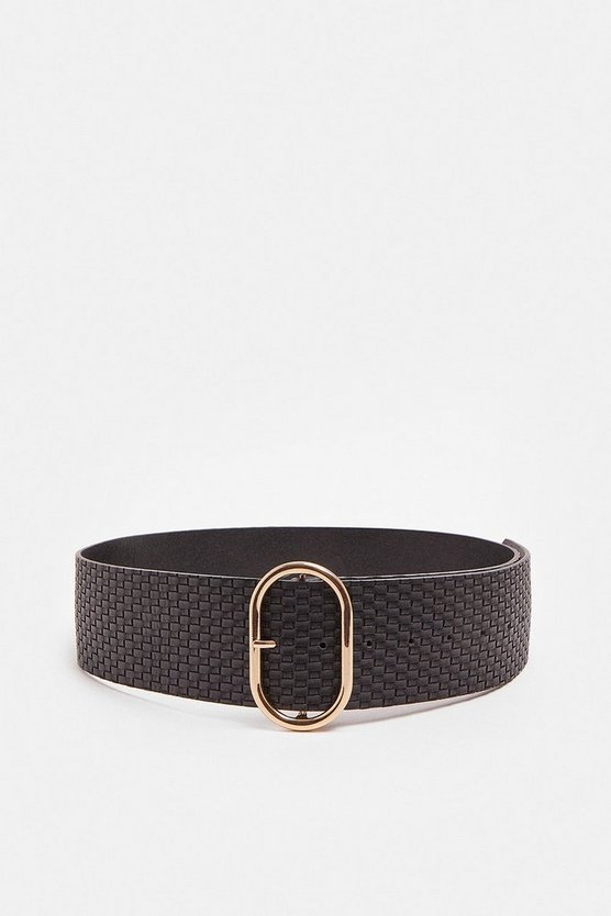 Black Woven Wide Waist Belt