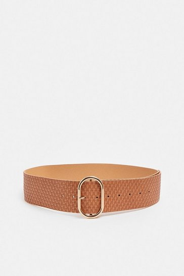Tan Woven Wide Waist Belt