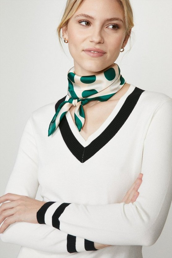 Green Polka Dot Satin Scarf