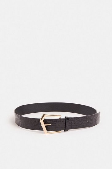 Black Geometric Buckle Croc Belt