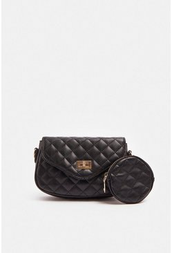 Black Quilted Bag With Mini Quilted Purse