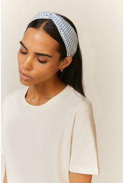 Blue Gingham Twist Headband
