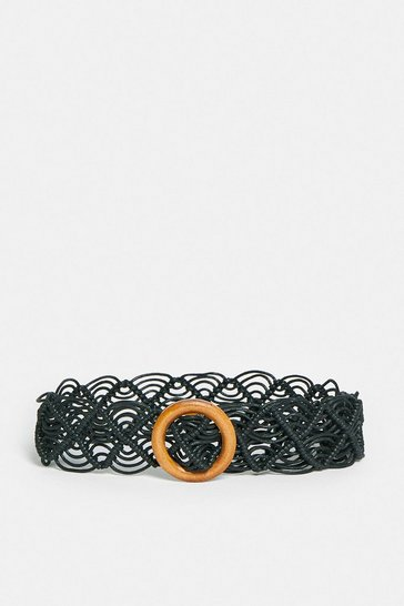 Black Straw Lace Wooden Buckle Belt