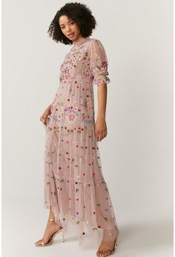 Pink All Over Embroidered Maxi Dress