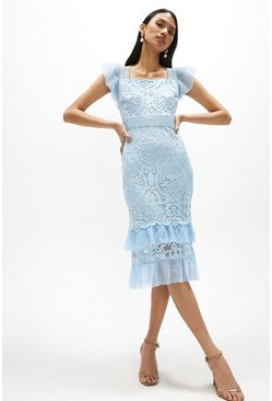 Pale blue Lace Cap Sleeve Midi Dress