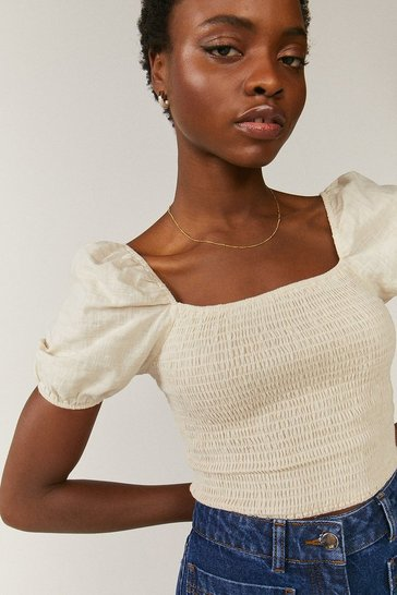 Natural Linen Look Smocked Top
