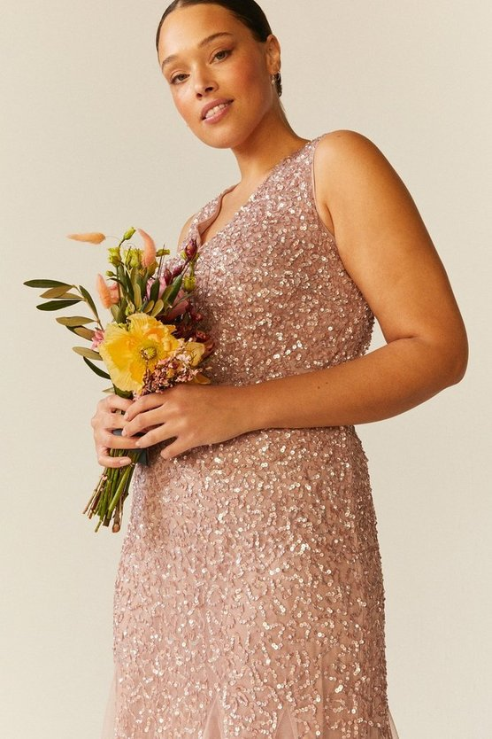Blush Curve Sequin Split Skirt Maxi Dress