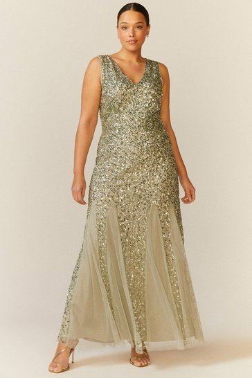 Sage Curve Sequin Split Skirt Maxi Dress