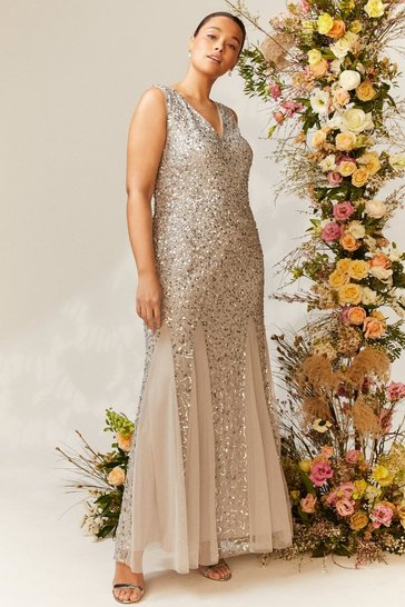 Silver Curve Sequin Split Skirt Maxi Dress