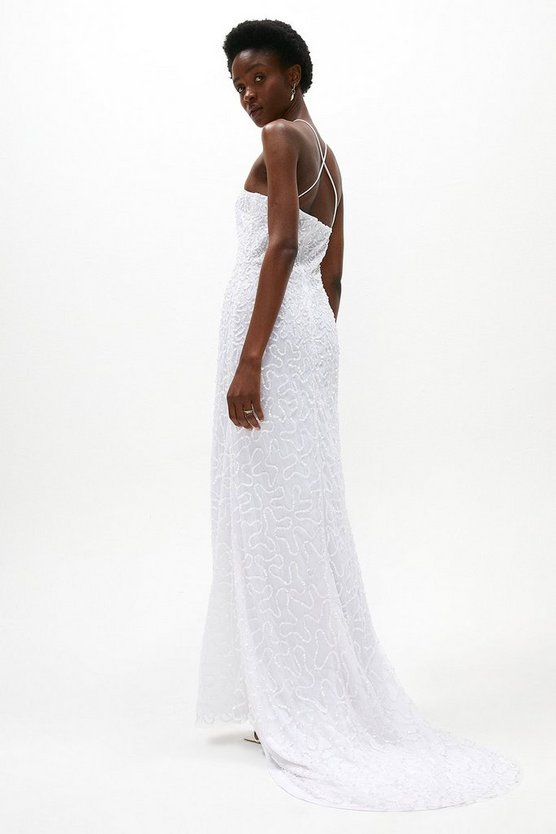 Ivory All Over Sequin Cross Back Bridal Maxi Dress