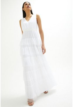 Ivory Tulle Tiered Bridal Maxi Dress