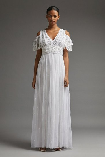 Ivory Cold Shoulder Embellished Bridal Dress