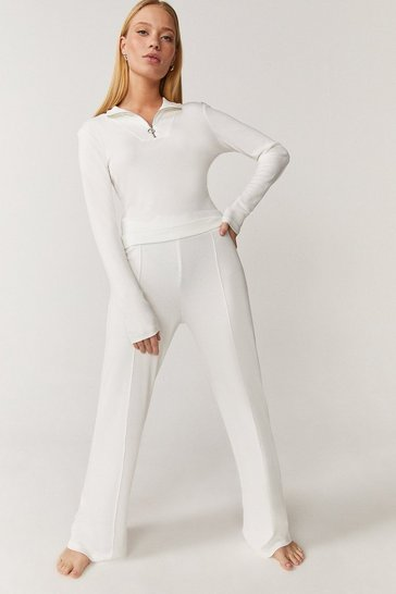 Ivory Zip Up Top And Wide Leg Lounge Set