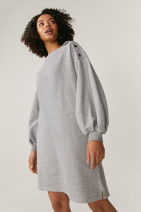 Grey Popper Detail Sweat Dress