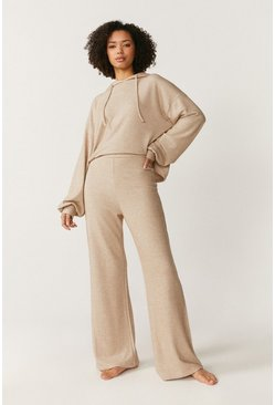 Oatmeal Super Soft Touch Wide Leg Lounge Trousers