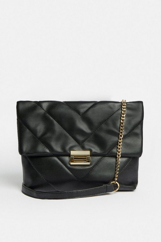 Black Quilted Shoulder Bag With Chain Strap