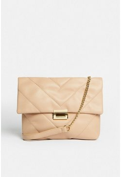 Nude Quilted Shoulder Bag With Chain Strap