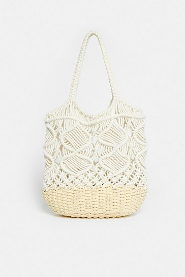 Beige Contrast Crochet Shopper Bag