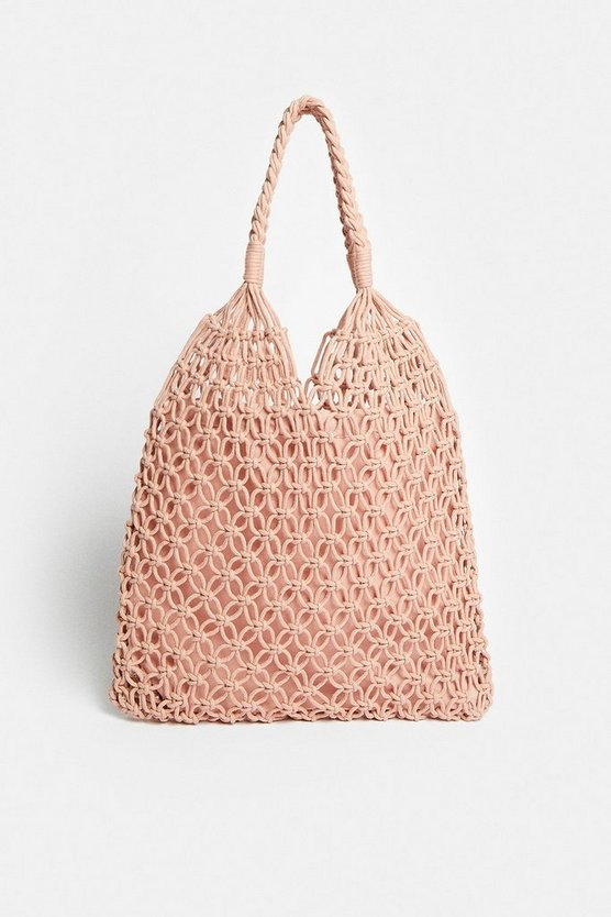 Pink Crochet Shopper Bag