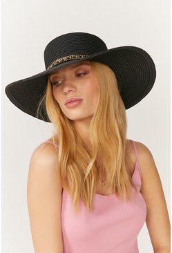 Black Chain Band Wide Brim Straw Hat