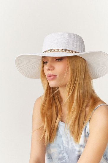 White Chain Band Wide Brim Straw Hat