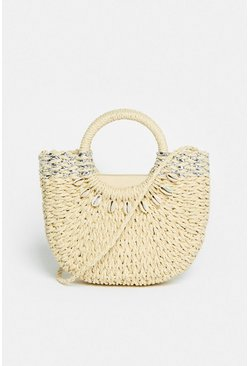 Beige Straw Tote Bag With Shell Detail