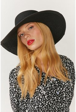 Black Wide Brim Straw Hat